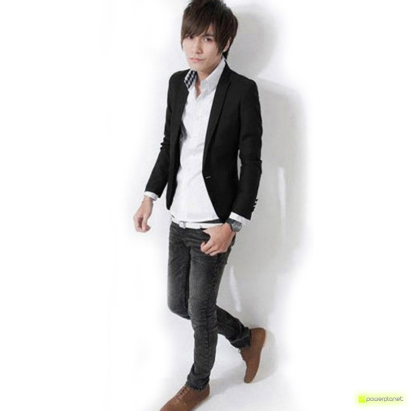 Blazer Slim Fit Casual Preto - Homen - Item1