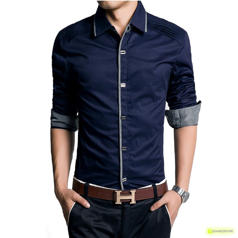 Camisa Slim Fit Azul - Homen