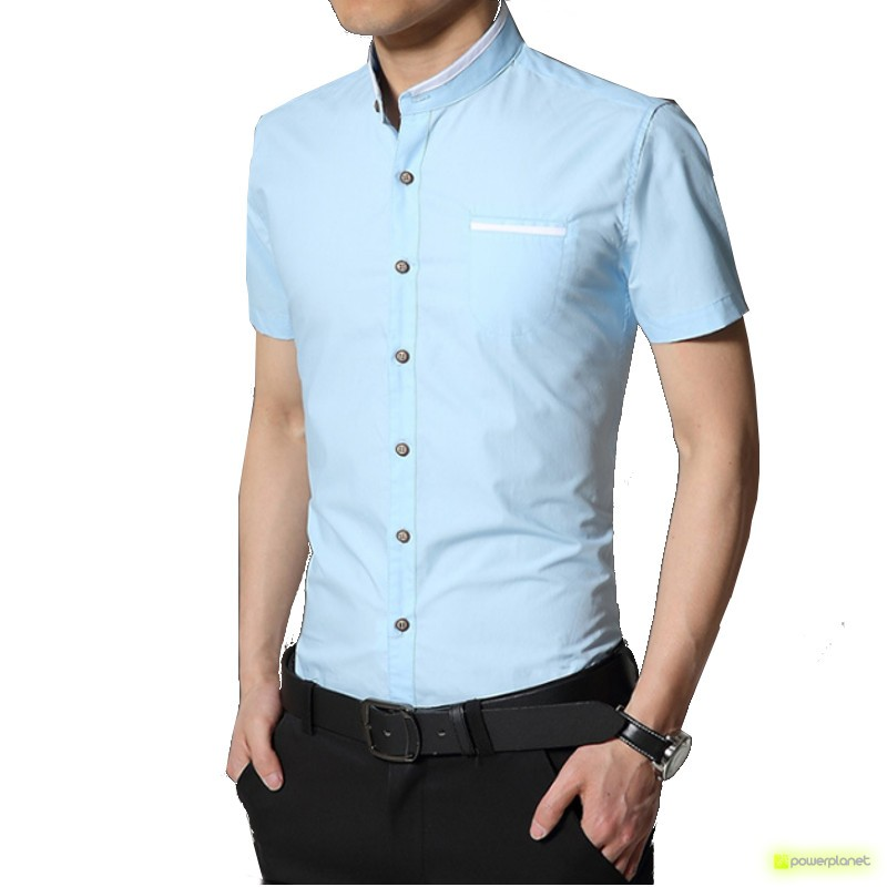 Camisa Slim Line Basic Azul - Homen