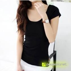 Camiseta Negra Básica Cuello en U - Ítem2