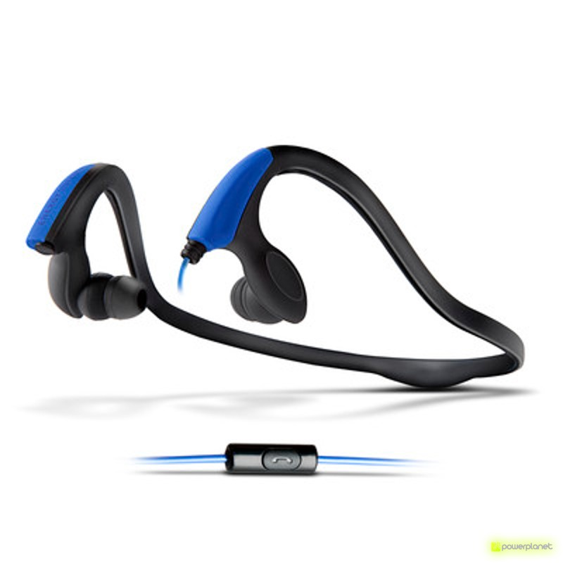 Energy Earphones Running Two Neon Blue Mic