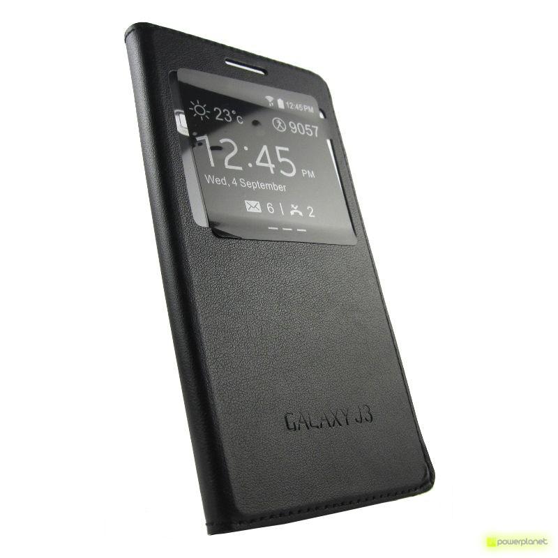 Caso tipo livro com janela Samsung Galaxy J3