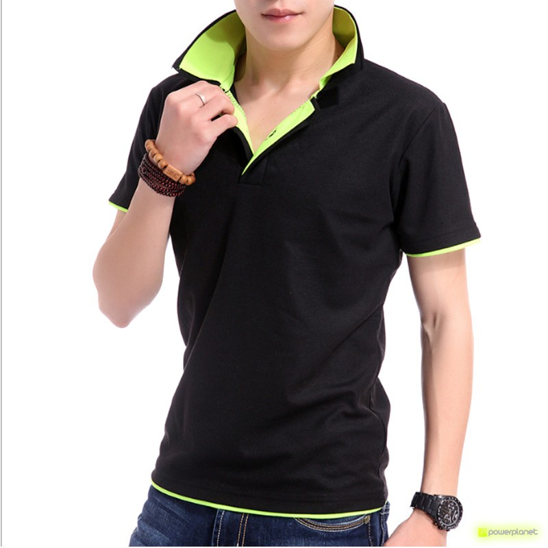 Polo Up Collar Preto e Verde - Homen
