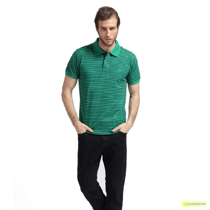 Polo Stripe Verde - Homen