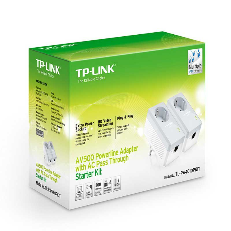 TP-Link TL-PA4010PKIT Starter Kit AV500 Powerline adapters with integrated plug - Item1