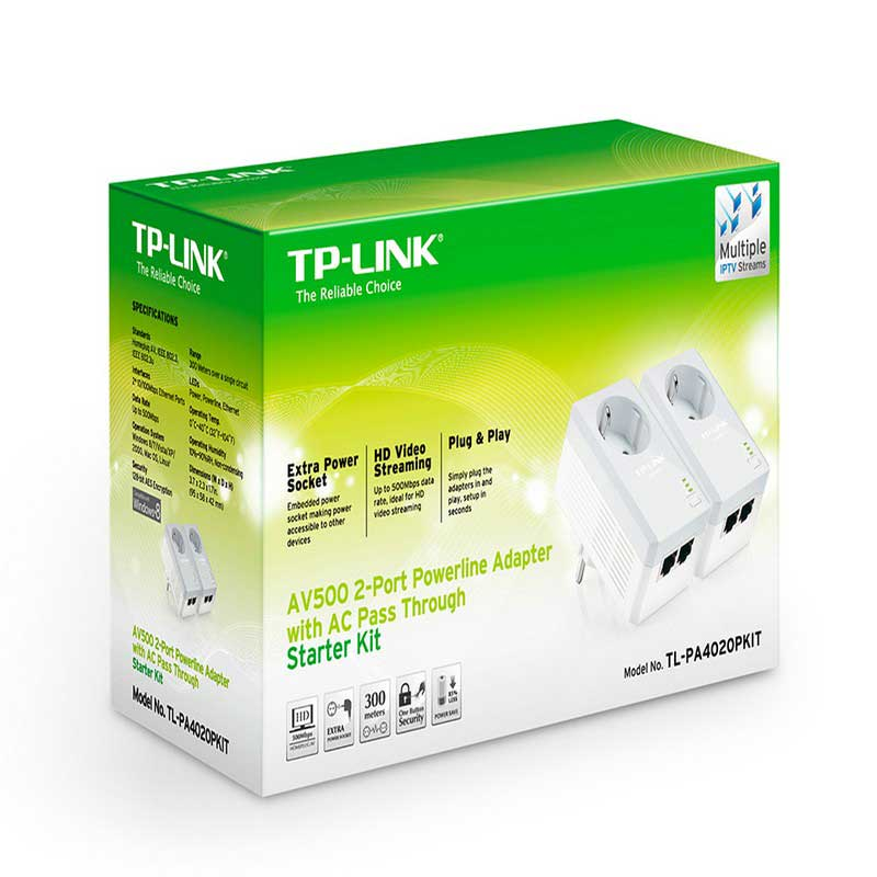 TP-Link TL-PA4020PKIT Starter Kit AV500 Powerline Adapters 2-port with built-in plug - Item1