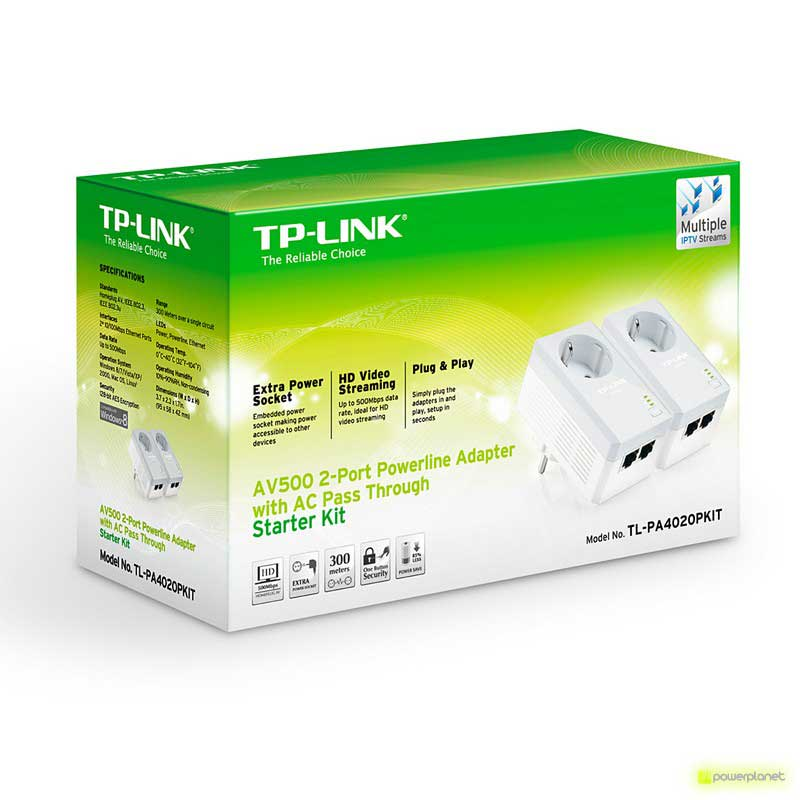 TP-Link TL-PA4020PKIT Starter Kit AV500 Powerline Adapters 2-port with built-in plug - Item3