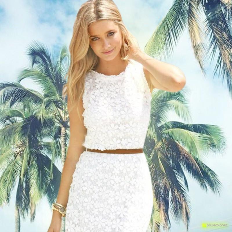 Vestido de renda sem mangas branco - Mulher