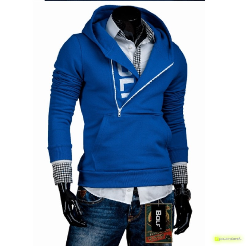 Suéter Lateral Zipper blue and white - Homen