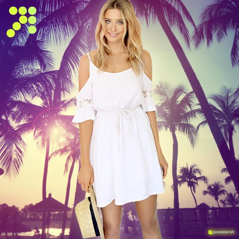 Vestido de verão sem mangas Branco - Mulher