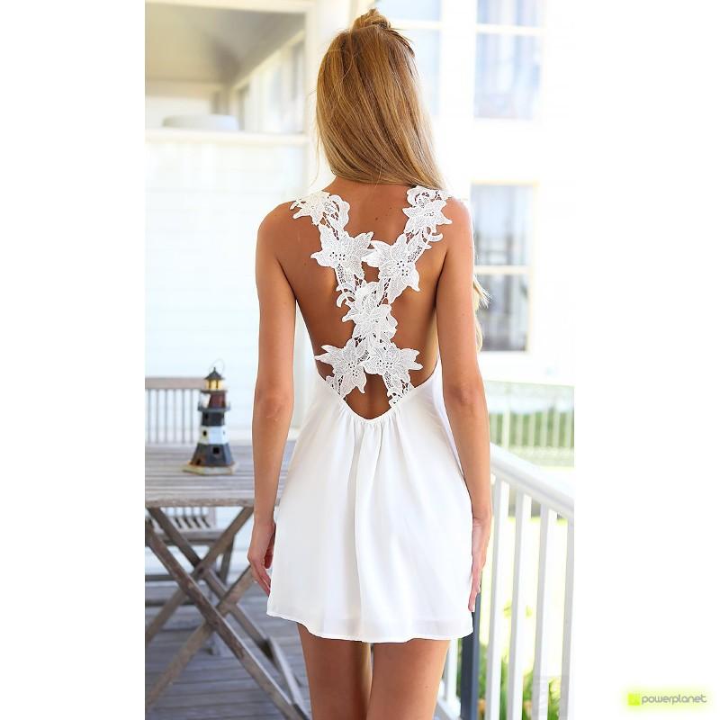 Vestido Branco Traseira Floral - Item1
