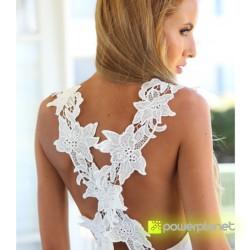 Vestido Branco Traseira Floral - Item2