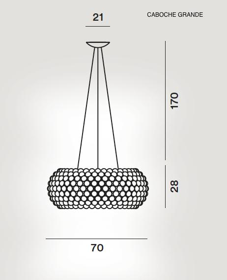 medidas lampara caboche colgante grande de foscarini