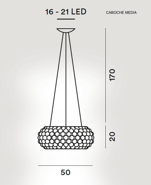 medidas lampara caboche colgante mediana de foscarini