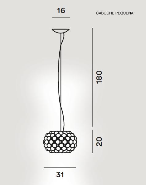 medidas lampara caboche colgante pequeña de foscarini