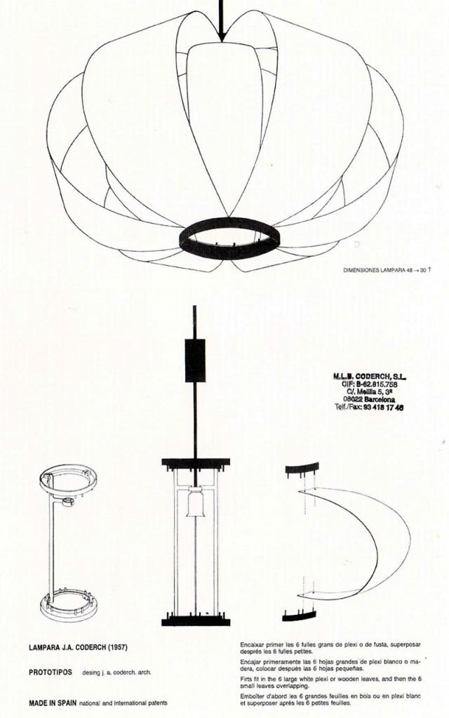 medidas de la lampara desea diseño de coderch