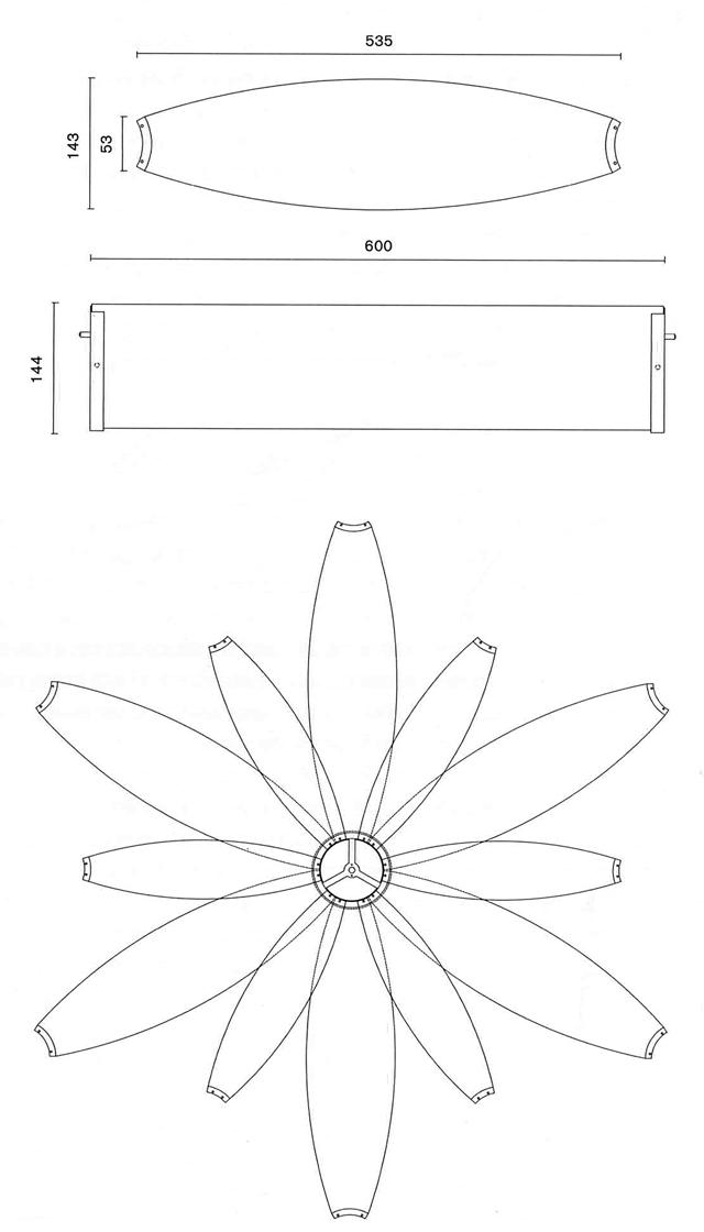 Medidas lampara de suspensión diseño de coderch