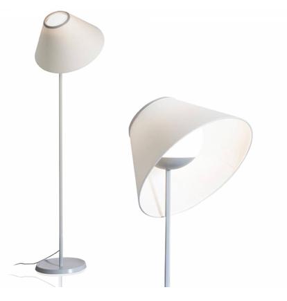 Lámpara de pié con pantalla de vidrio y tela en dos tamaños de pantalla inclinaba