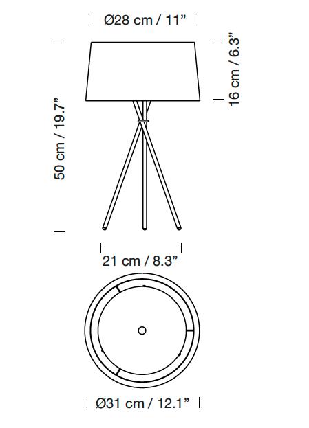 lampara tripode santa cole dimensiones
