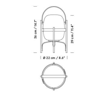 Medidas de la lampara cestita de bateria de santa cole