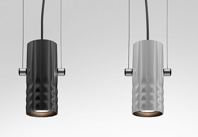 Suspensión Fiamma, Artemide, Tubo proyector en aluminio color gris o negro, Oferta Artemide