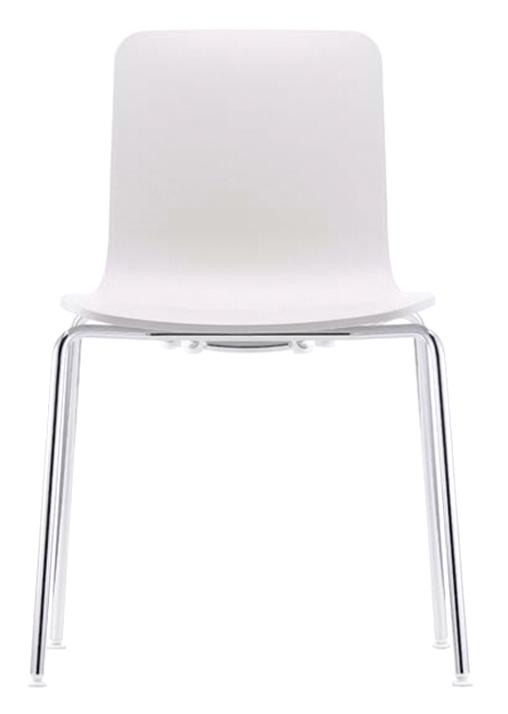 Hal Tube, es una silla de polipropileno apilable, muy resistente para instalaciones en exterior, cómoda y con un diseño limpio y elegante, puede elegirse en los colores blanco o negro. Un diseño de Jasper Morrison fabricado por Vitra.
