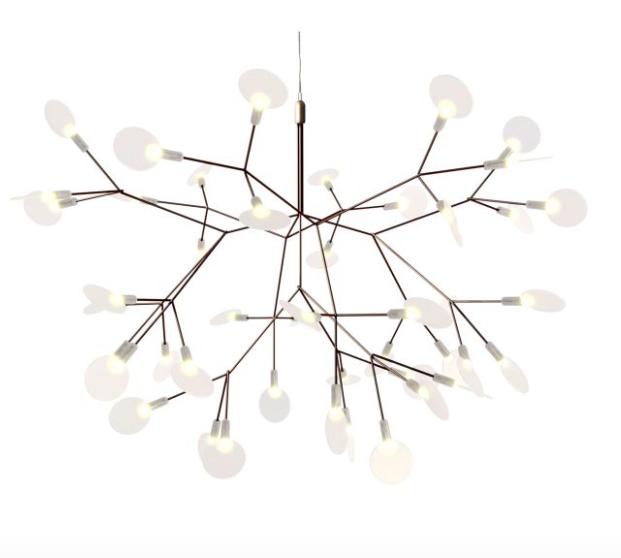 Lámpara de suspensión parecida a la rama en flor de un almendro con luz