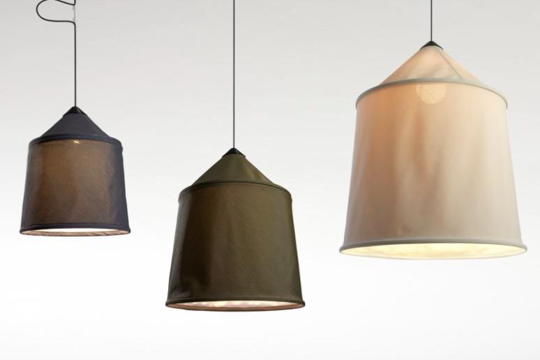 Lámpara de suspensión con tejido textiles con forma de jaiba Beduina.