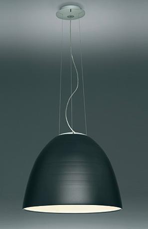 Lámpara de suspensión Nur con difusor pantalla metálica en color gris oscuro o adonizado gris, con opciones halógena o Led