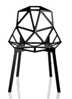 Silla de alumnio fundido a presión en forma de estructura de trama similar a un esqueleto, original, ligera y robusta a la vez.