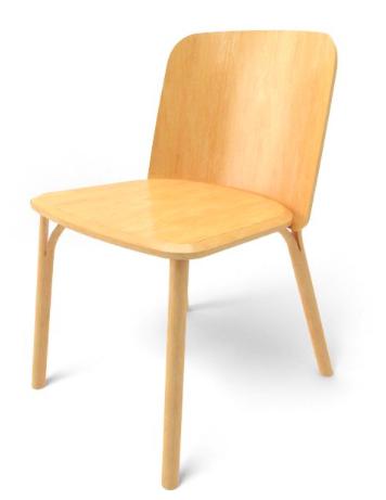 Silla de madera moldeada de haya o roble, de ligera apariencia, pero robusta, puede adaptarse a cualquier espacio con los múltiples acabados de que dispone. Esplit de Arik Levy para Ton