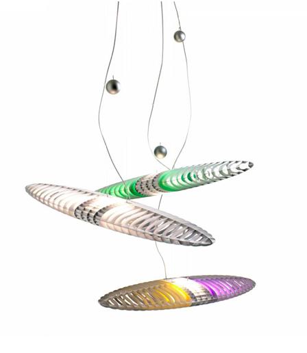 mejor precio oferta Lámpara de suspensión de aluminio de forma elíptica, con filtros de colores que pueden generar diferentes escenas cromáticas.