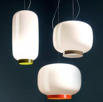 Lámpara de suspensión con pantalla de vidrio entres formas y tamaños