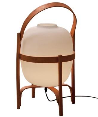 oferta Lámpara de suelo o de mesa con estructura de madera de cerezo en forma de Cesta y difusor de vidrio opal
