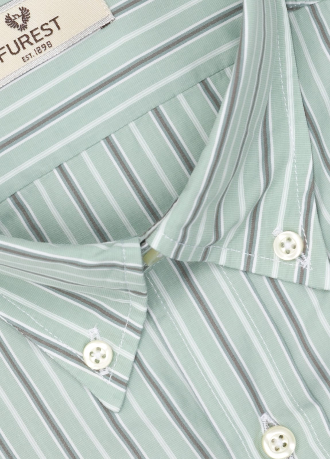 Camisa Leisure Wear SLIM FIT Modelo BOTTON DOWN color verde, estampado rayas gris. 100% Algodón. - Ítem1