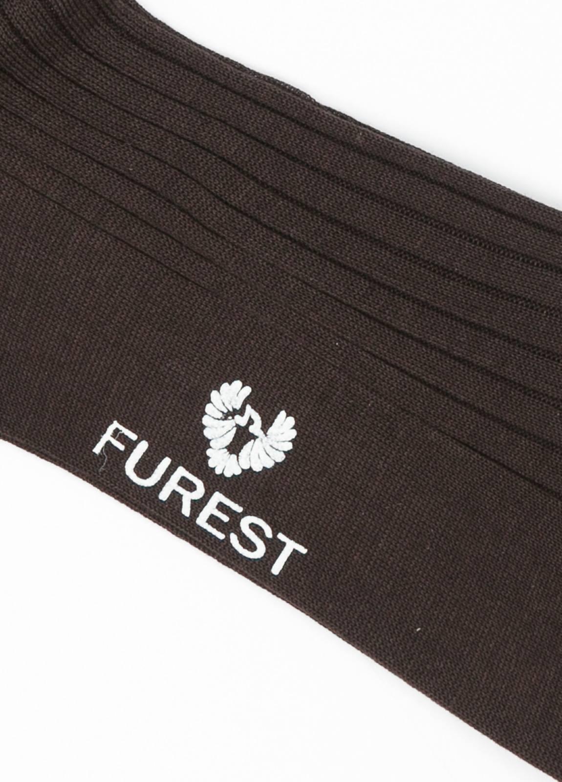 furest colección,calcetín corto de canalé marrón 100% hilo de escocia,12v39001330 - Ítem1