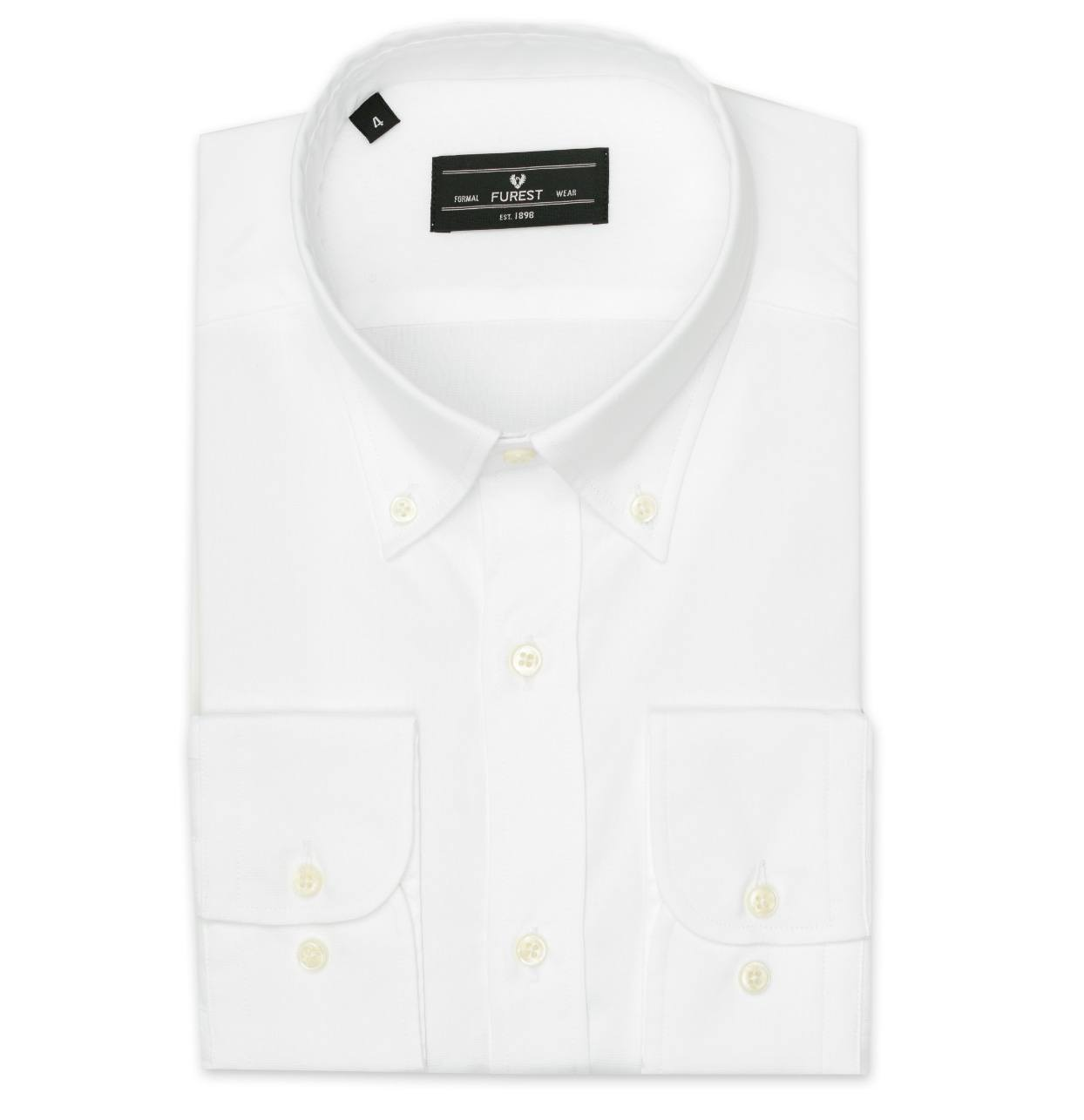 Camisa Formal Wear REGULAR FIT Modelo BOTTON DOWN Tejido Pin point color blanco, 100% Algodón
