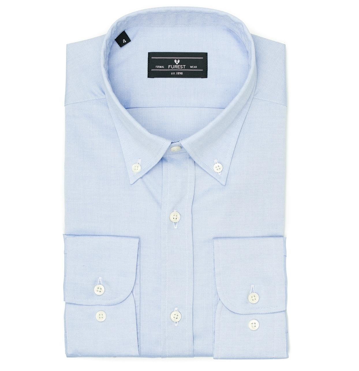 Camisa Formal Wear REGULAR FIT Modelo BOTTON DOWN Tejido Pin point color azul, 100% Algodón