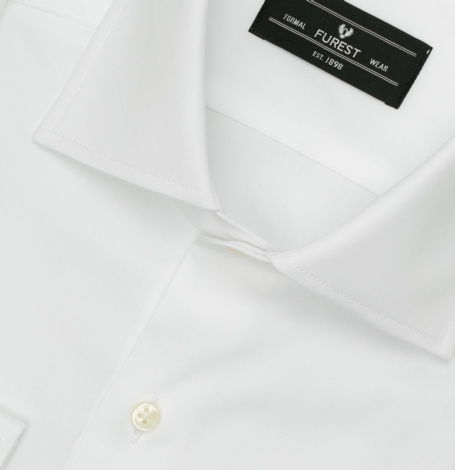 Camisa Formal Wear REGULAR FIT cuello Italiano modelo NAPOLI tejido pin point color blanco, 100% Algodón. - Ítem1