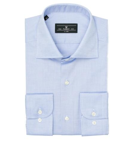 Camisa Formal Wear REGULAR FIT cuello Italiano modelo NAPOLI tejido pin point color azul, 100% Algodón.