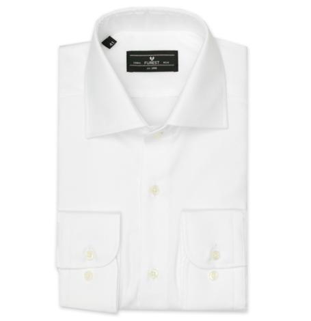 Camisa Formal Wear REGULAR FIT cuello Italiano, modelo NAPOLI tejido twill color blanco,100% Algodón.