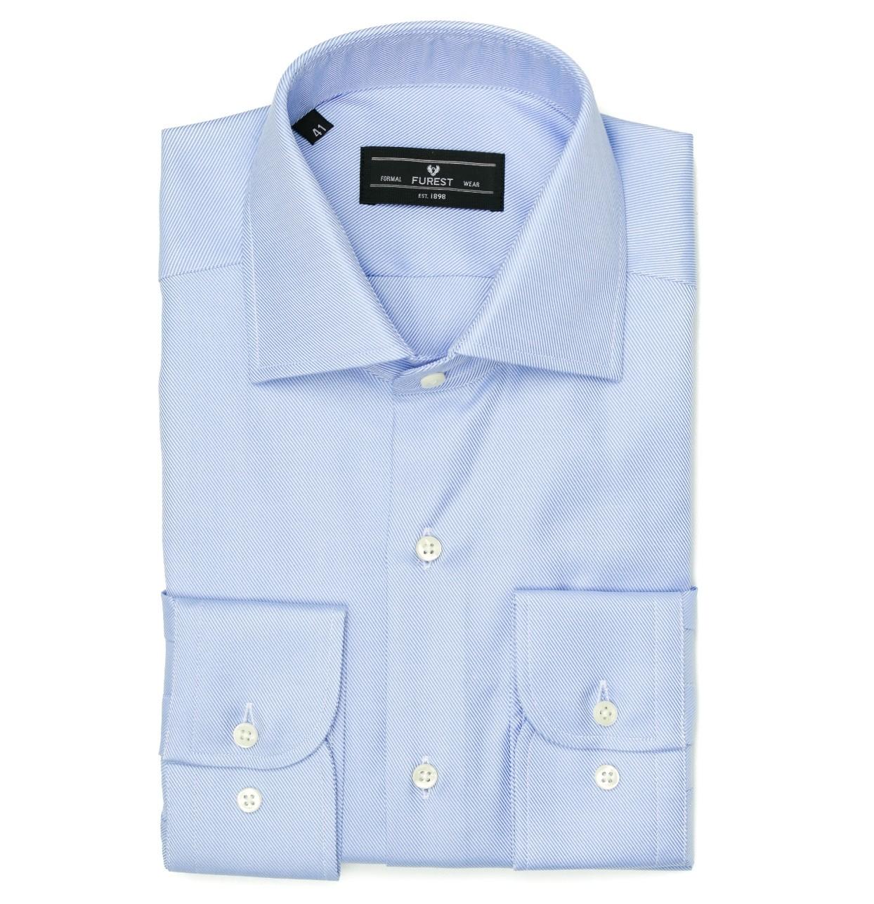 Camisa Formal Wear REGULAR FIT cuello Italiano, modelo NAPOLI tejido twill color azul, 100% Algodón.
