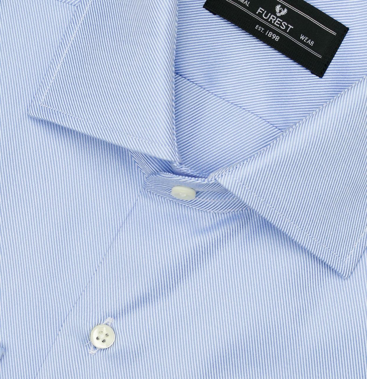 Camisa Formal Wear REGULAR FIT cuello Italiano, modelo NAPOLI tejido twill color azul, 100% Algodón. - Ítem1