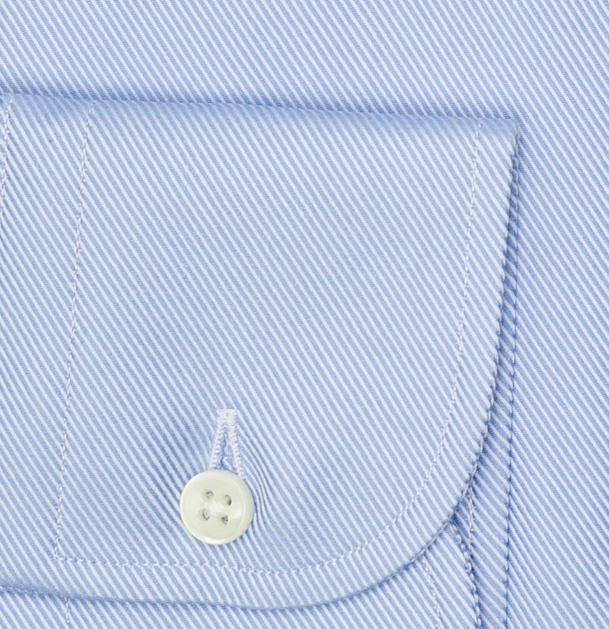 Camisa Formal Wear REGULAR FIT cuello Italiano, modelo NAPOLI tejido twill color azul, 100% Algodón. - Ítem2