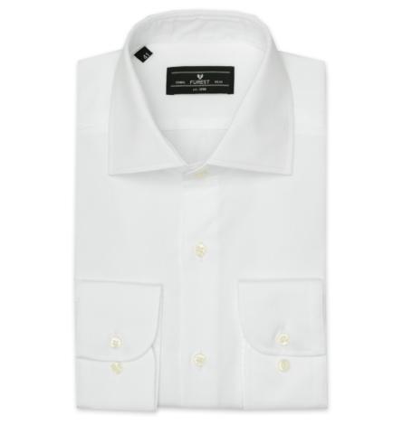 Camisa Formal Wear REGULAR FIT cuello Italiano modelo NAPOLI Tejido micro raya color blanco, 100% Algodón.