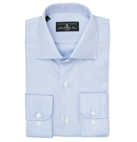 Camisa Formal Wear REGULAR FIT cuello Italiano, modelo NAPOLI tejido micrograbado color azul, 100% algodón.