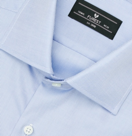 Camisa Formal Wear REGULAR FIT cuello Italiano, modelo NAPOLI tejido micrograbado color azul, 100% algodón. - Ítem1