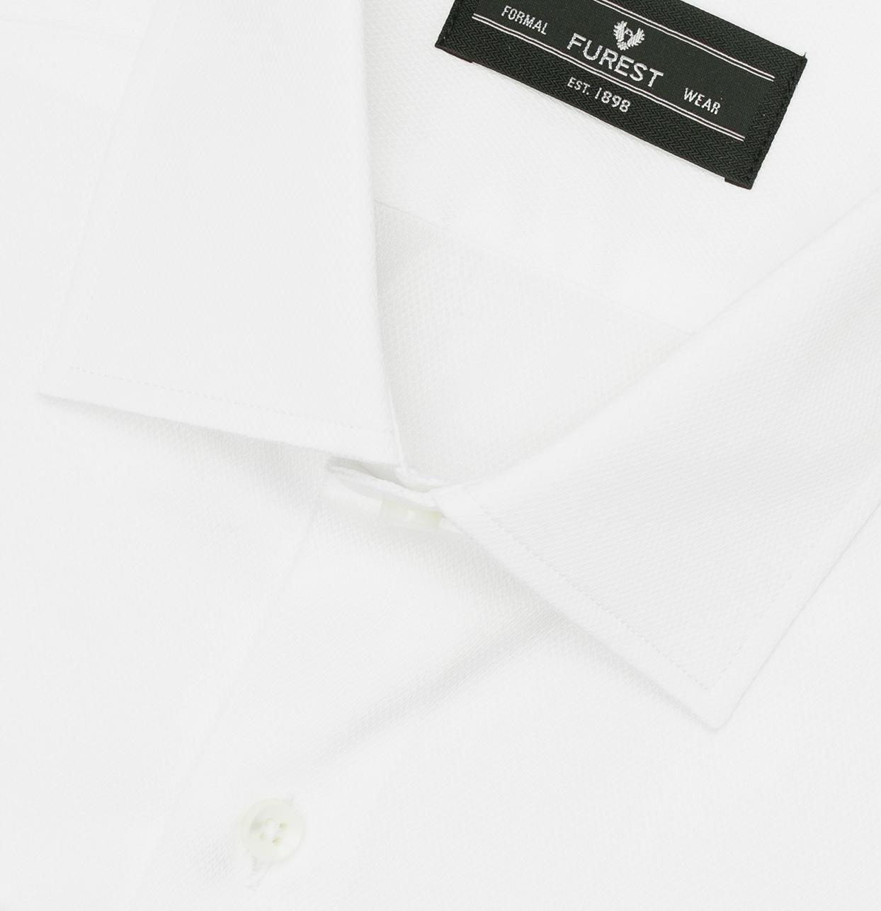 Camisa Formal Wear SLIM FIT cuello italiano modelo ROMA tejido micro esterilla color blanco, 100% Algodón. - Ítem1