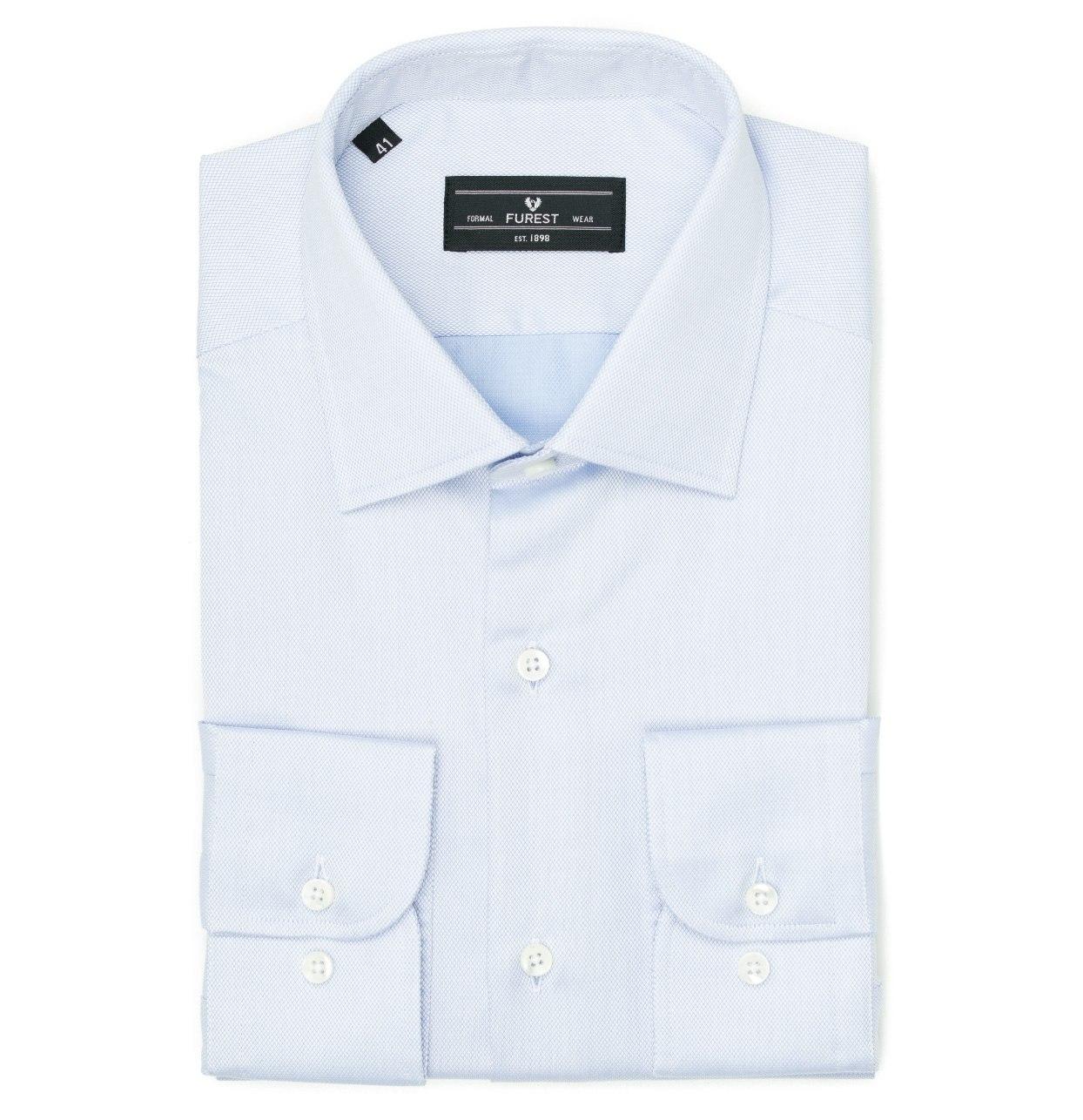 Camisa Formal Wear SLIM FIT cuello italiano modelo ROMA tejido micro dibujo color celeste, 100% Algodón.