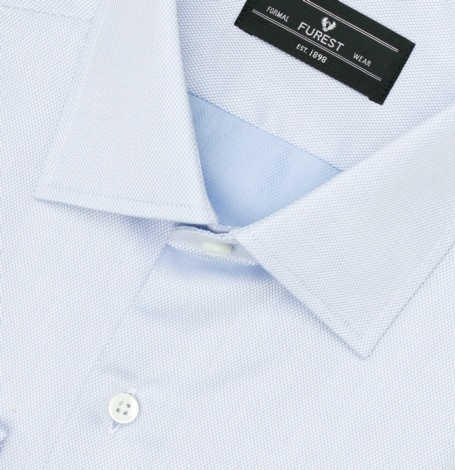 Camisa Formal Wear SLIM FIT cuello italiano modelo ROMA tejido micro dibujo color celeste, 100% Algodón. - Ítem1